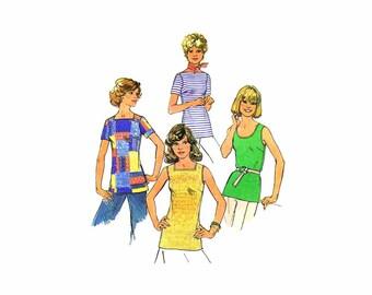 1970s Misses Square Round Bateau Neckline Tops Simplicity 7533 Vintage Sewing Pattern Size 12 Bust 34 UNCUT