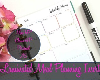 Meal Planning Laminated Insert, Reusable Inserts, Happy Planner Inserts, Mini Happy Planner, A5 Inserts, Personal Inserts, Shopping List