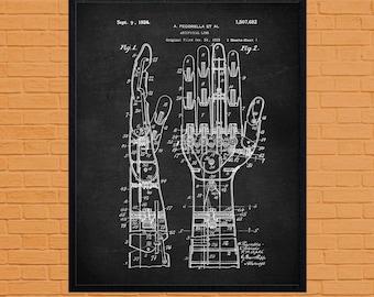 Robotic Hand, 1924 Patent, Sci Fi Art, Artificial Hand, Robot Wall Art, Robot Art Print, Art Print, Retro Robot Art, Classroom Art