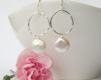Pearl Dangle Earrings, White Coin Pearl Dangle Earrings, Handmade sterling and pearl earrings, Pearl Jewelry