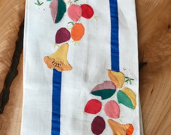 Hand Appliquéd Linen Tea Towel