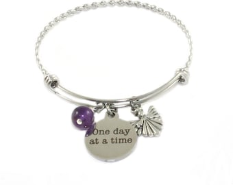 Recovery Bracelet, Twisted Stainless Steel, Amethyst, Angel, One Day At A Time