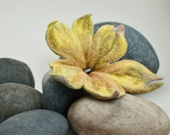 Yellow Felt Lily Brooch