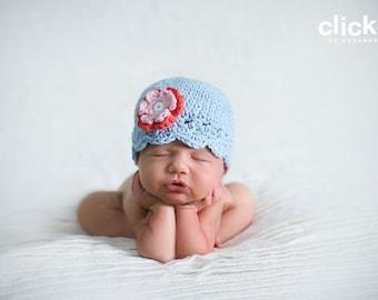 0-3 month baby blue flapper beanie