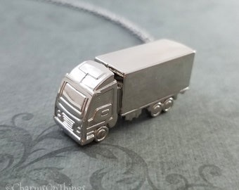 Truck Necklace Truck Charm Necklace Truck Pendant Necklace Travel Jewelry Trucker Necklace Semi-truck Necklace Boyfriend Necklace Dad Gift