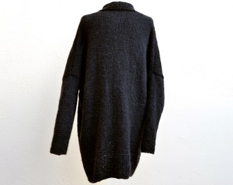 Black wool coat, hand knitted, oversized, alpaca