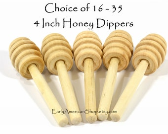 Your Choice of 16 - 35 Honey Dippers-Unfinished Hardwood-4 Inches Long-Honey Stick-Wedding Favors