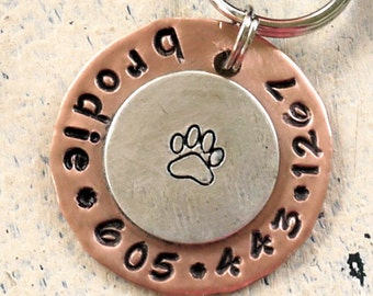 Pet id tag / Dog Paw Copper and Sterling Silver