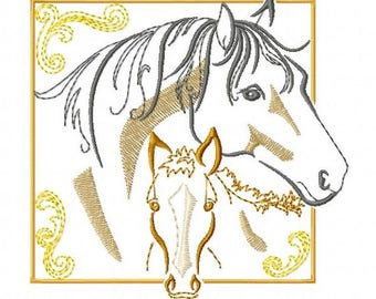 MARE & FOAL - Machine Embroidery Design - horse