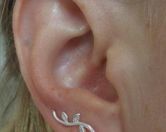 ear climbers, silver ear climbers, sterling silver,  ear pins,  simple ear cuff, lightweight, small ear crawler, leaf vine earrings, E11