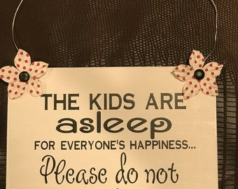 The Kids Are ASLEEP Sign, Baby Asleep For Hanger, Baby Sign, Door Sign, Front Door Sign, Baby Sign