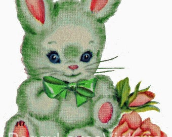 Green Bunny with Green Bow Digital Image from Vintage Greeting Cards - Instant Download