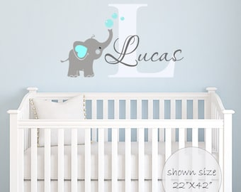 Elephant Decal Name Wall Decal Elephant Wall Decal Elephants Baby Boy Room Decor Decals Nursery Boys Decals Custom Name decal Nursery