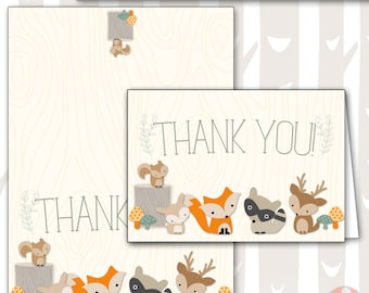 INSTANT DOWNLOAD Sweet Woodland Baby Shower Thank You Note| Baby Woodland Animals Thank you| Forest Baby Shower Thank You Card