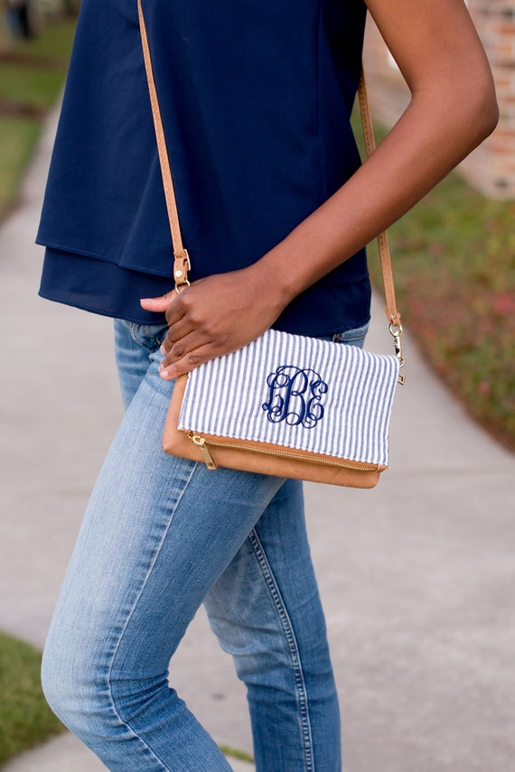 Seersucker Monogrammed Cross Body Purse
