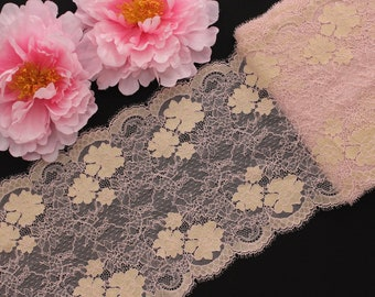 "1 YD Dusty Pink/Matte Gold 9"" Stretch Lace for Bramaking Lingerie"