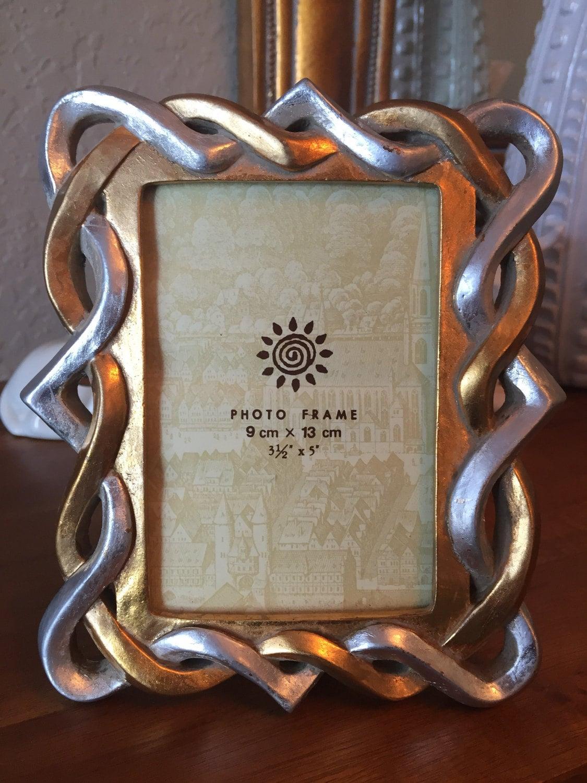 Foto de época marco cuadro marco plata oro trenza celta base marco ...