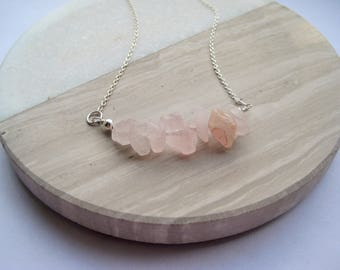 Rose Quartz bar necklace, gemstone chip necklace, sterling silver rose quartz necklace, gold fill necklace, rose gold fill necklace,