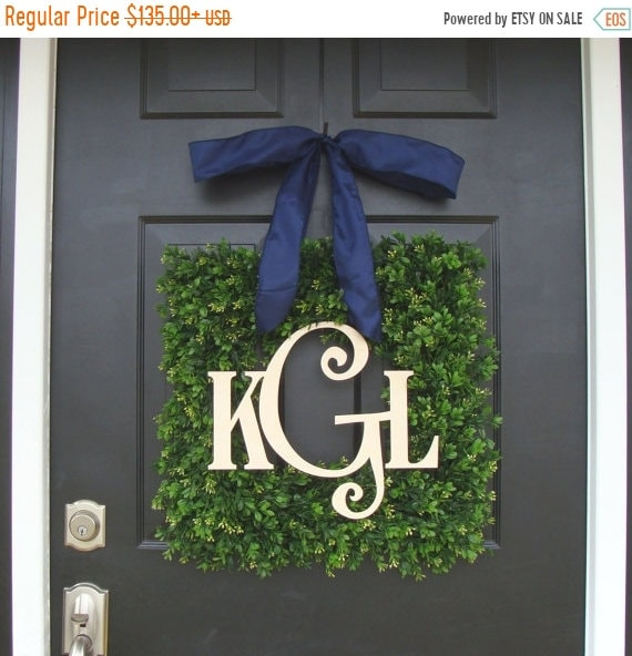 SUMMER WREATH SALE Boxwood Wood Monogram Wreath- Monogram Boxwood Wreath- Wedding Wreath- Wedding Decor- Couples Wood Monogram- Front Door W