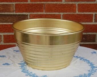 50s Aluminum Ice Bucket Bowl Retro Atomic Design Mid Century Modern Home Decor Large Bowl