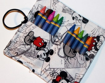 Mickey Mouse Crayon Roll, Party Favor, Party Supplies, Gift Basket, Party Favor, Wedding Favor, School Supplies, Daycare Supplies