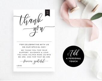 Wedding Reception Thank You Printable, PlaceName Card, Instant PDF Download, Reception Decor, DIY Wedding, Template