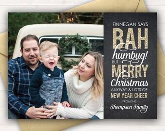 Bah Humbug Card, Photo Christmas Card, Funny Christmas Cards, Custom Christmas Card Holiday Cards Printable Christmas Gold Glitter Christmas