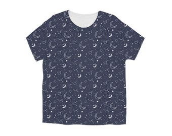 Moon Shirt, Kids Graphic Tee, Girls Graphic Tee, Boys Graphic Tee, Toddler Girl Clothes, Toddler Clothing, Space Shirt, Modern Kids