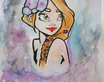 GALAXIE GIRL - Dessin A4 Aquarelle