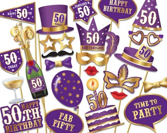 50th birthday Photo Booth props - Instant Download printable PDF. Fiftieth birthday party Photo Booth supplies. Fifty Today - 0193
