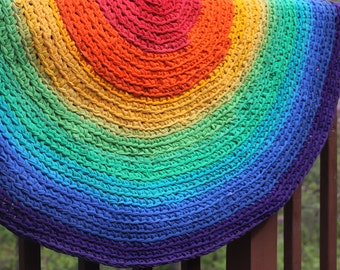 Round Rug Rainbow Round Rag Area Rug Recycled T Shirt and Textiles Yarn Made to Order 4-5  feet diameter