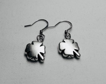 EARRINGS FOR MEN, Silver Plated, Four Leaf Clover Dangle Earrings, Saint Patricks Day Gifts, Minimalist, On Sale, Free Shipping to Canada
