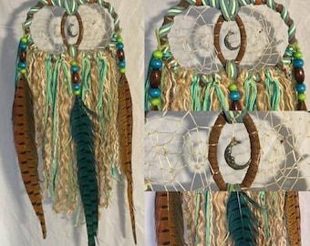 Double Ring Hanging Crescent Moon w/ Face OOAK Dreamcatcher Wall Art Decor