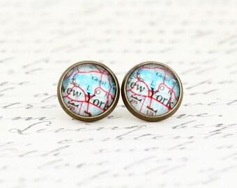 New York City Earrings - NYC Earrings - Map Earrings - Map Jewelry - Vintage Map Jewelry - City Map - Stocking Stuffer - Gift For Woman