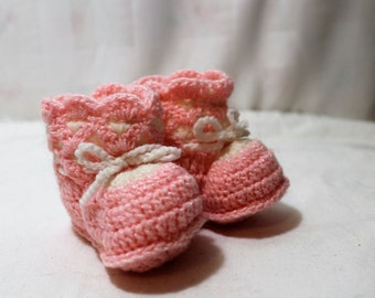 NEW Vintage Hand Crocheted Bright Pink and White Baby Booties