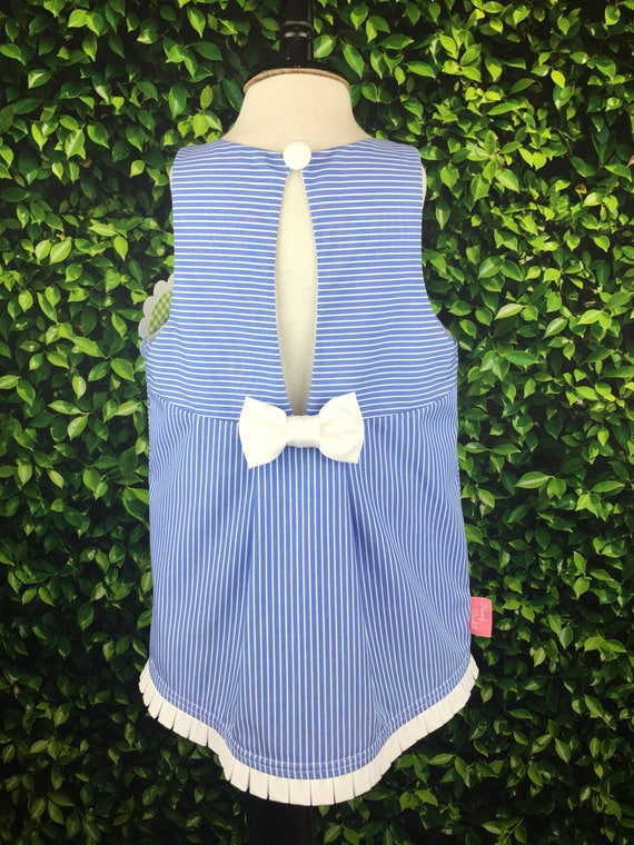 "The ""Key Hole Tunic"" in French Blue & White Stripe"
