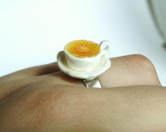 Miniature Tea Ring for Tea Lover / Polymer Clay  / Miniature lemon / LolaWhoCharms