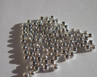 50 PC wood beads 4 mm bright silver metal (4114)