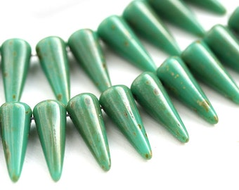 25pc Turquoise Green Picasso Spike beads, czech glass beads, top drilled spikes - 13mm - 1357