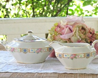 Knowles Plaza Sugar and Creamer Set, Edwin Knowles China, French Farmhouse, Tea Parties, Cottage Style, Ca 1940s, Replacement China
