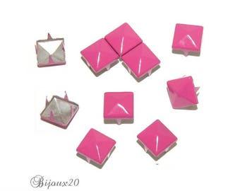 100 9mm pink FUCHSIA claw rivet customisation M00324 pyramid studs