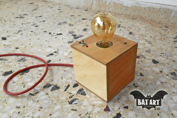 Desk lamp cube plywood with vintage Toggle Switch Lighting