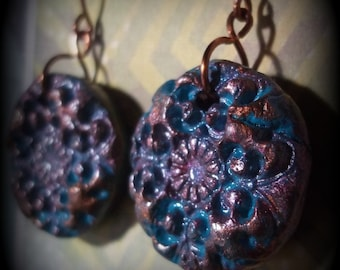 Blue and copper stamped clay earrings,copper hook clay earrings
