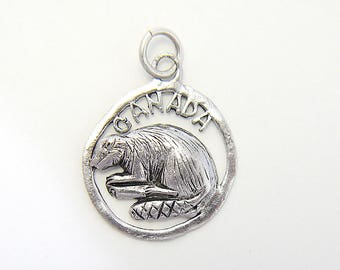 Vintage CANADA with Beaver, Small Round Disc Charm with Cutout Details, Sterling Silver 925