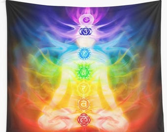 Wall tapestry meditating figure colorful chakras energy flow sanscrit symbols wall art hanging yoga meditation