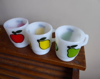 Vintage Set of Three  Anchor Hocking FIRE KING Stacking Mugs FRUIT Pattern Circa 1960s