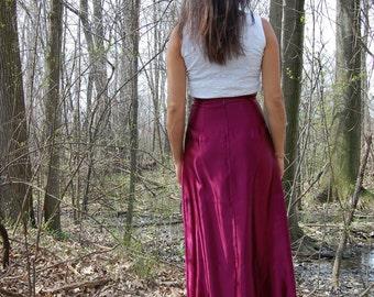 Vintage Jessica McClintock Shiny Purple Pencil Maxi Skirt by Gunne Sax