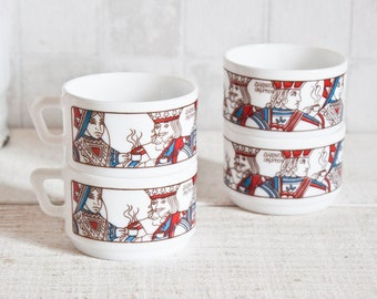 RARE Set of 4 Opal White Glass Coffee Cups - Queen and King  Card Games Pattern - Kitchen Retro Decor - Arcopal French Vintage 1970s