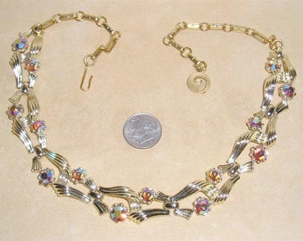 Vintage Signed Lisner Choker Necklace With Iridescent Crystal Rhinestones 1960's Jewelry 3086