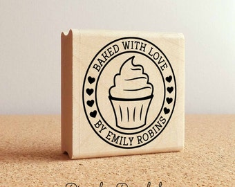 Personalized Baked with Love Rubber Stamp, Label Stamp with Cupcake